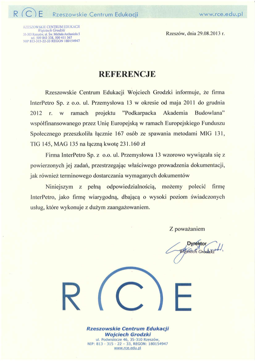Referencje RCE 08-2013